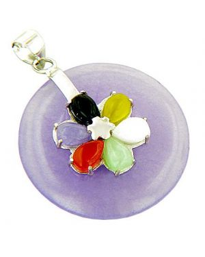Amulet Good Luck Lucky Flower Purple Jade 925 Silver Pendant