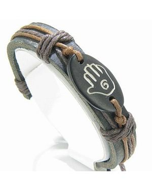 Protection from Evil Eye Hand Leather and Bone Bracelet