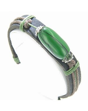 Super Genuine Leather And Green Bead Bracelet