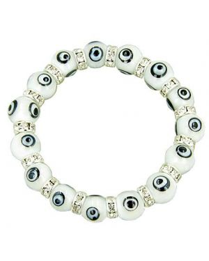 Swarovski Crystals Snow White Evil Eye Protection Bracelet