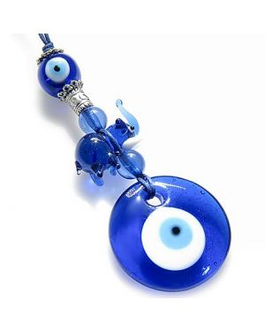 Evil Eye Protection And Lucky Elephant Glass Charm