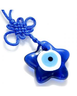 Evil Eye Protection Star And Celtic Knot Glass Charm