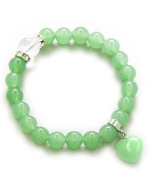 Swarovski And Green Aventurine Heart Money Talisman Bracelet