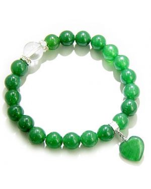 Swarovski And Green Jade Heart Good Luck Talisman Bracelet