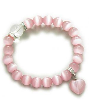 Swarovski And Pink Cats Eye Heart Good Luck Talisman Bracelet