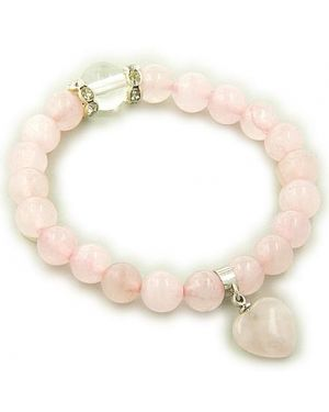 Swarovski And Rose Quartz Heart Love Talisman Bracelet