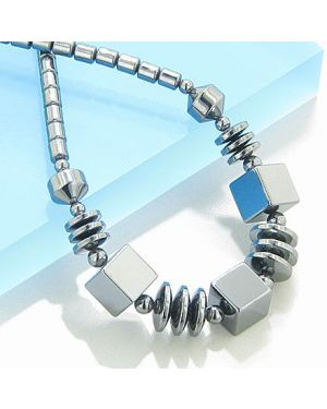 Protection Hematite Cubes And Disks Necklace