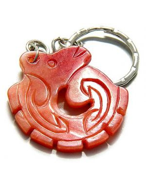 Good Luck And Protection Talisman Dragon Red Jade Keychain