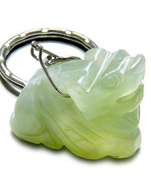 Good Luck and Protection Talisman Dragon Light Green Jade Keychain