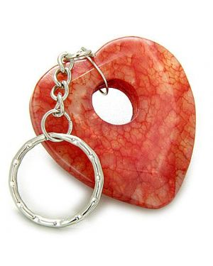 Love And Good Luck Talisman Heart-Donut Red Jade Keychain