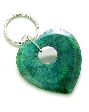 Love And Good Luck Talisman Heart-Donut Green Jade Keychain