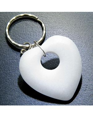 Love And Good Luck Talisman Heart-Donut White Jade Keychain