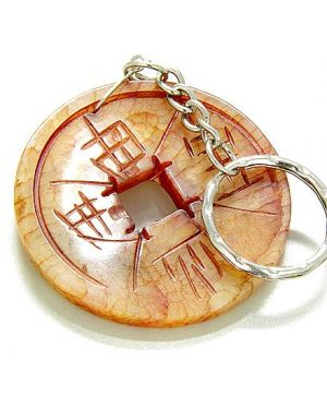 A Money And Good Luck Talisman Lucky Coin Antique Jade Keychain