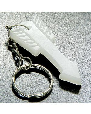 Good Luck & Protection Talisman Arrowhead White Jade Keychain