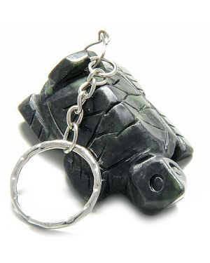 A Good Luck Talisman Lucky Turtle Black Jade Keychain