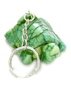 A Good Luck Talisman Lucky Turtle Bright Green Jade Keychain
