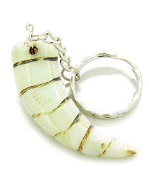 Good Luck Talisman Italian Horn Light Green Jade Keychain