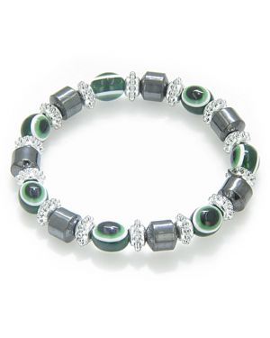 Evil Eye And Protection Magnetic Green Eyes Simulated Hemalyke-Hematite Bracelet