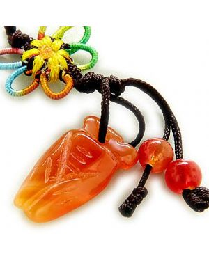 Good Luck Talisman Natural Agate Cicada Cell Phone Charm