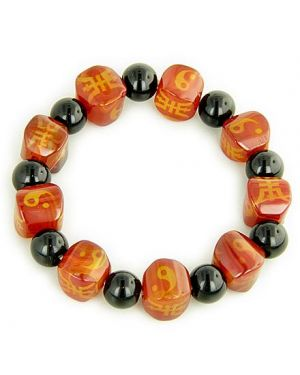 Good Luck, Yin - Yang And Protection Nuggets Agate Bracelet