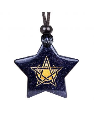 Magical Super Star Pentacle Celtic Spirit Powers Amulet Goldstone Lucky Charm Pendant Necklace