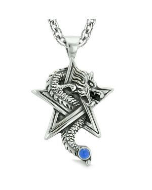 Courage Dragon Magical Powers Star Pentacle Amulet Aqua Blue Simulated Cats Eye Pendant Necklace