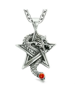 Courage Dragon Magical Protection Powers Star Pentacle Amulet Red Jasper Pendant 18 Inch Necklace