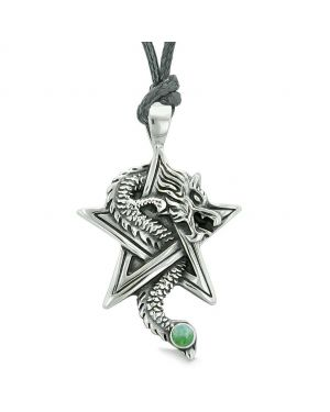 Courage Dragon Magic Protection Powers Star Pentacle Amulet Green Quartz Pendant Necklace