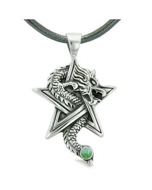 Courage Dragon Magical Protection Powers Star Pentacle Amulet Green Quartz Pendant Leather Necklace