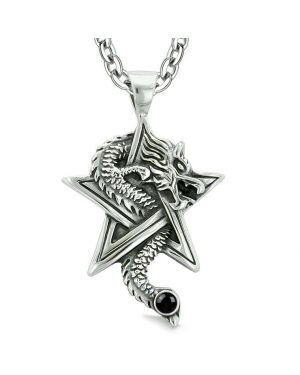 Courage Dragon Magical Powers Star Pentacle Amulet Black Simulated Onyx Pendant 22 Inch Necklace