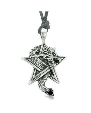 Courage Dragon Magical Powers Star Pentacle Amulet Black Simulated Onyx Pendant Adjustable Necklace