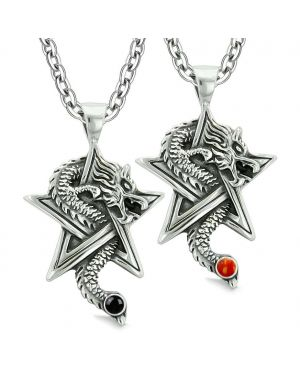 Courage Dragons Star Pentacle Amulet Love Couples Best Friends Simulated Onyx Red Jasper Necklaces