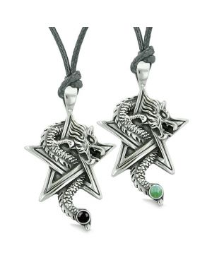 Courage Dragons Star Pentacle Amulet Love Couples Best Friend Green Quartz Simulated Onyx Necklaces