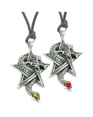 Courage Dragons Star Pentacle Amulet Love Couples or Best Friends Red Jasper Tiger Eye Necklaces