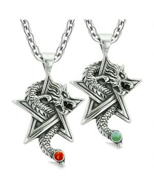 Courage Dragons Star Pentacle Amulet Couples Best Friends Set Green Quartz Red Jasper Necklaces