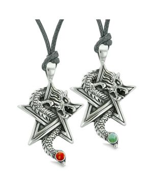 Courage Dragons Star Pentacle Amulet Love Couples or Best Friends Red Jasper Green Quartz Necklaces