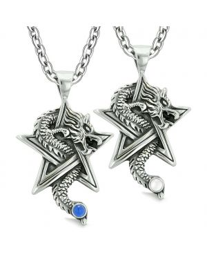 Courage Dragons Star Pentacle Amulet Couples Best Friends Blue White Simulated Cats Eye Necklaces