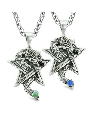 Courage Dragons Star Pentacle Amulet Love Couples Best Friends Simulated Cats Eye Quartz Necklaces