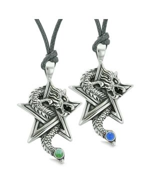 Courage Dragons Star Pentacle Amulet Love Couples Best Friends Quartz Simulated Cats Eye Necklaces