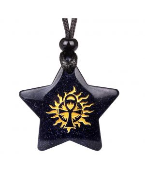 Magical Super Star Ankh Sun Life Powers Amulet Blue Goldstone Lucky Charm Pendant Necklace