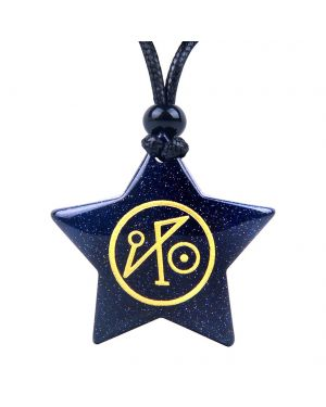 Magical Super Star Michael Sigil Planet Energy Powers Goldstone Lucky Charm Pendant Adjustable Necklace