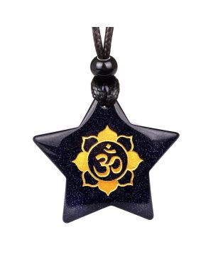 Magical Super Star Ancient OM Ohm Tibetan Mantra Amulet Goldstone Lucky Charm Pendant Necklace