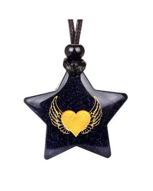 Magical Super Star Angel Wings Heart Love Powers Amulet Goldstone Lucky Charm Pendant Necklace