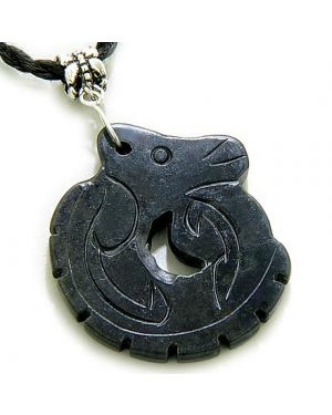 Good Luck And Protection Talisman Dragon Black Jade Necklace