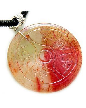 Good Luck Protection Talisman Eye and Yin Yang Red Jade Necklace