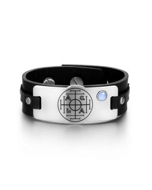Fortune Wealth Success Magic Circle Amulet Blue Simulated Cats Eye Black Leather Bracelet