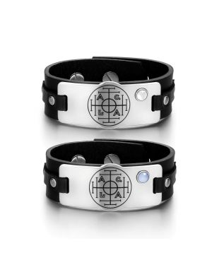 Fortune Wealth Success Love Couples White Blue Simulated Cats Eye Amulet Black Leather Bracelets