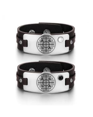 Fortune Wealth Success Love Couples White Simulated Cats Eye Simulated Onyx Brown Leather Bracelets