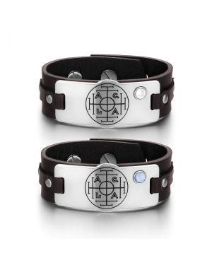 Fortune Wealth Success Love Couples White Blue Simulated Cats Eye Amulet Brown Leather Bracelets