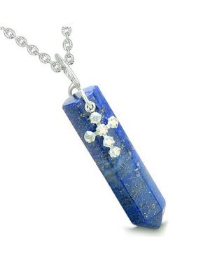 Amulet Crystal Point Holy Cross Swarovski Elements Lapis Lazuli Spiritual Pendant Necklace
